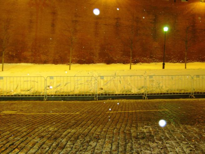 26.12.2016. Дежурство на Немцовском мемориале. Почти через неделю ещё видна надпись «Борись»
